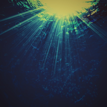 Abstract marine backgrounds with sun beam and underwater view