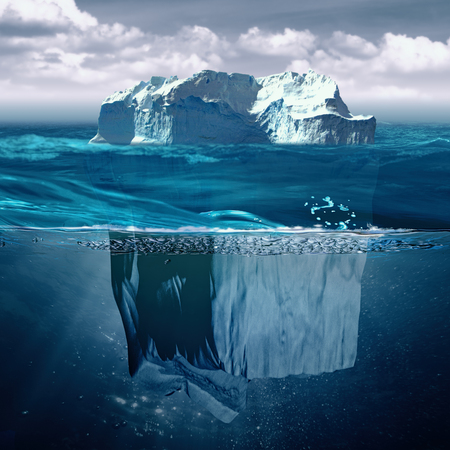 light beams: Iceberg, marine backgrounds with north ocean and underwater landscape