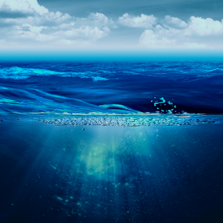 Abstract marine backgrounds with stormy ocean and underwater view