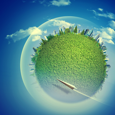 Eco backgrounds with Earth globe and flying jet over blue skies Imagens