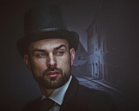 Englishman detective, retro style male portrait
