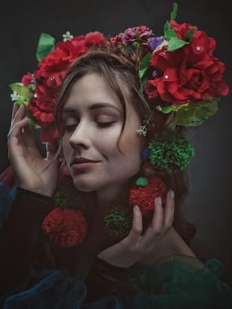 Miracle female art portrait with beautiful adult woman and traditional folk crown