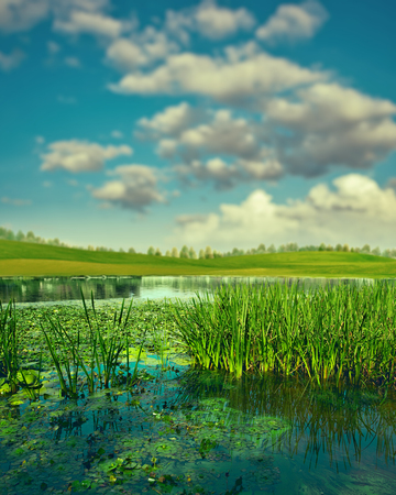 Summertime. Abstract seasonal landscape with clean river and green hills under bright sun Standard-Bild - 107509725