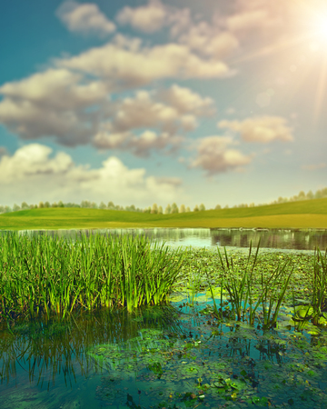 Summertime. Abstract seasonal landscape with clean river and green hills under bright sun