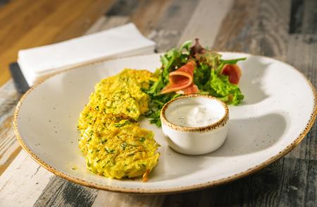 Vegan rissole over desk. Food and nutrition backgrounds
