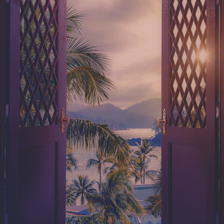 Door to the heaven. Abstract backgrounds with tropical landscape Standard-Bild - 119337211