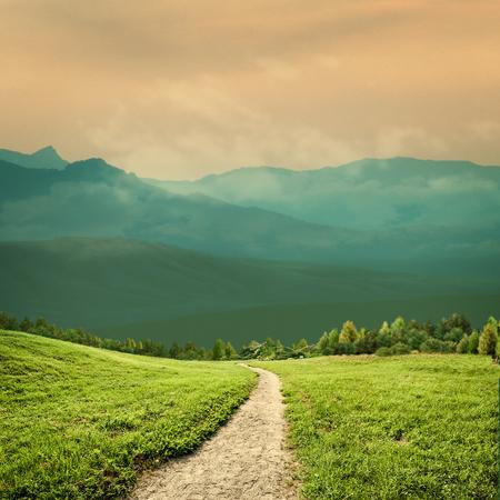 Fantastic rural landscape with green hills and beautiful skies Standard-Bild