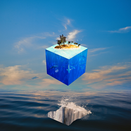 Eco balance with cube world. Abstract natural backgrounds Standard-Bild - 119832004