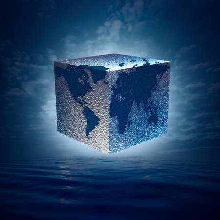 Eco balance with cube world. Abstract natural backgrounds Standard-Bild - 119832010