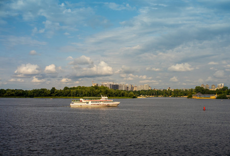 Passenger vessel on the river. Transportation and travel backgrounds Editorial