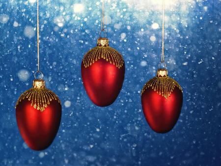 Christmas decorations with snowfall as backgrounds. Holidays wallpapers Standard-Bild - 119831412