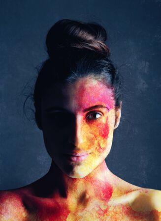 Destruction, Female Portrait with destructive texture over skin Standard-Bild - 146281408