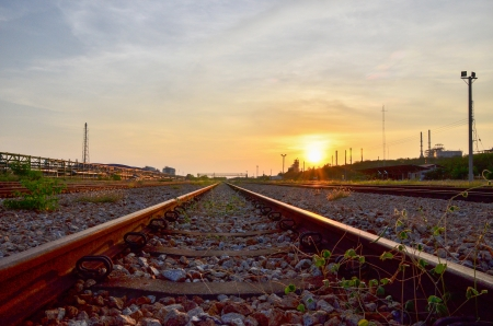 Railway at Map Tha Phut industrial estate, Rayong, Thailand photo