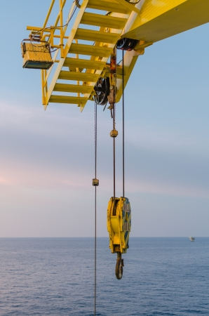 Crane hook in offshore platform Stock Photo