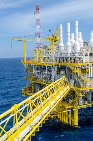 sun oil: Offshore platform in south of Thailand Stock Photo