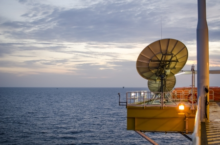 satellite disc in offshore platform Stock Photo - 14713237