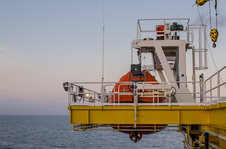lifeboat: Life boat on offshore platform, south of Thailand