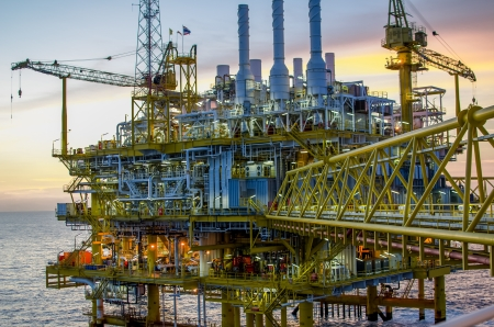 oil refinery: Offshore platform in south of Thailand Stock Photo