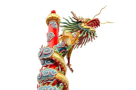 Chinese dragon with white isolated photo