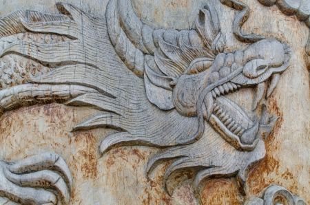 Dragon wood carving