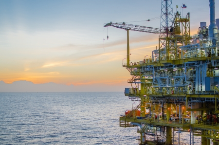 drilling well: Offshore platform in south of Thailand Stock Photo