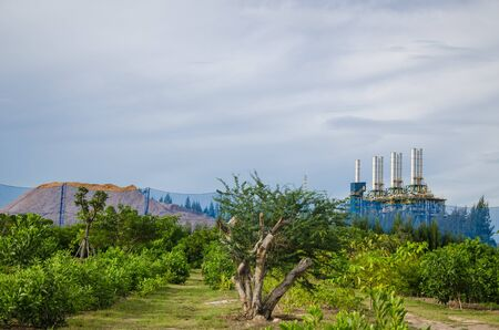 Petrochemical plant behind the public park photo