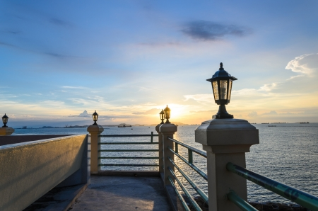 Sunset at Thai sea from the roof view Stock Photo - 15432810
