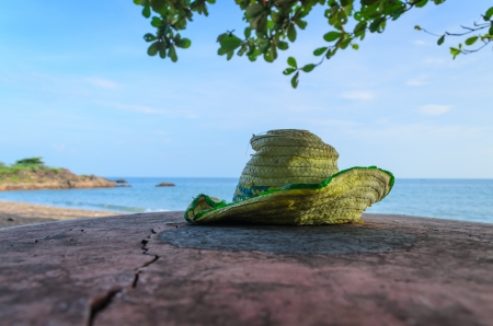 Summer hat on the beach, Rayong, Thailand Stock Photo