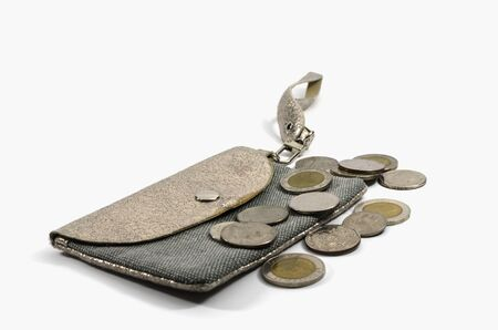 The coins wallet with isolated on white Stock Photo - 16083357