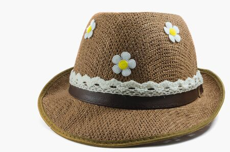 The beautiful summer hat with isolated on white photo