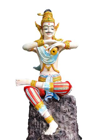Thai man sculpture with isolated on white Stock Photo