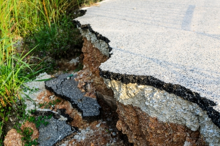The road edge damage in Thailand Stock Photo - 16942065