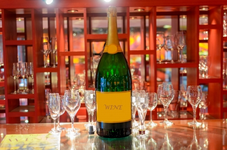 Wine and wine glasses in wine shop, Thai hotel photo
