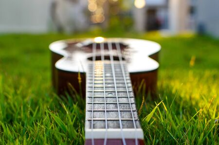 Ukulele put on the grass with the sunset behind photo