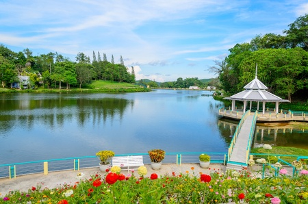 beautiful scenery: River and Garden in the park, Thailand