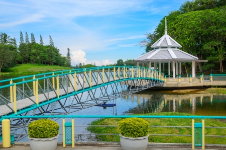 Bridge above the river in the park, Thailand Stock Photo