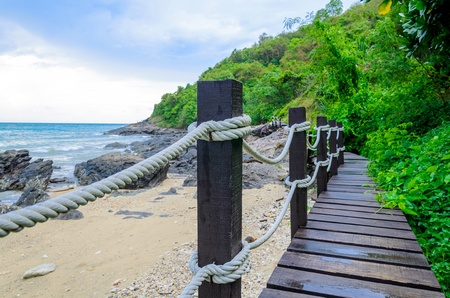 Small wood bridge near the seaside, Thailand photo