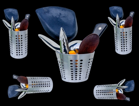 cooking implement: Spoon and fork cylinder storage Stock Photo