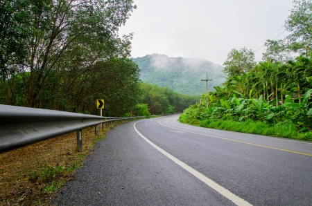 Road the mountain with fog, east of Thailand Stock Photo