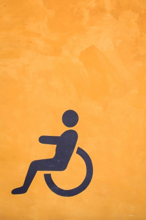 Toilet sign painting on the orenge color background photo
