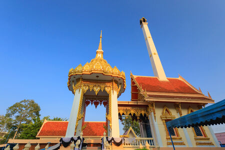 buddhist temple roof: Detail of a traditional buddhist temple roof and blue sky, Thailand
