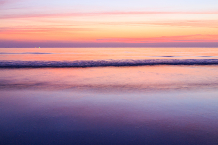 Long Exposure of Colorful beach sunset  Stock Photo