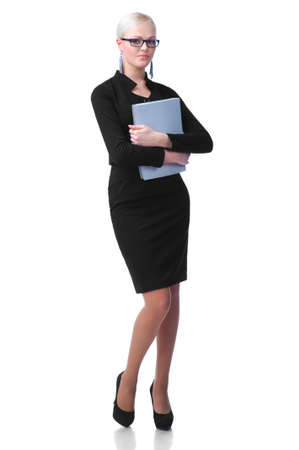 Cute secretary with paper folder isolated on white