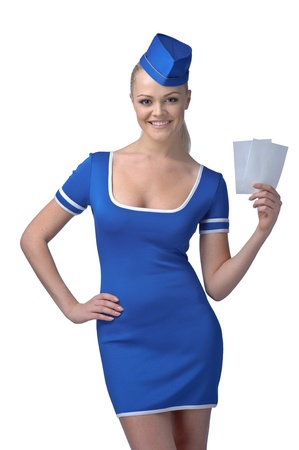Air hostess holding two tickets to the flight isolated on white photo