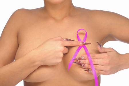 skin cancer: Female controlling breast for cancer with pink ribbon isolated on white Stock Photo