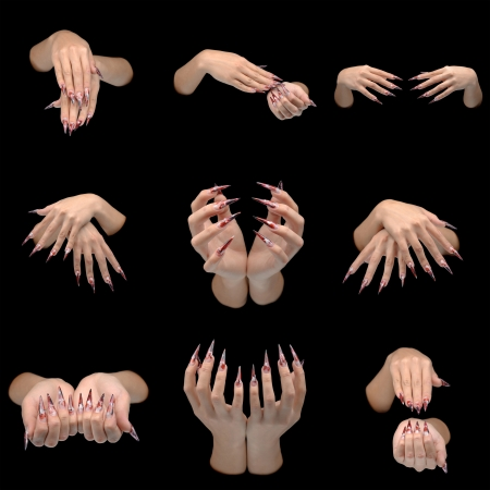 Set of closeup of hands of young woman long nail-art manicure on nails isolated on black