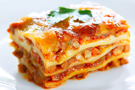 A piece of lasagna on a white plate large