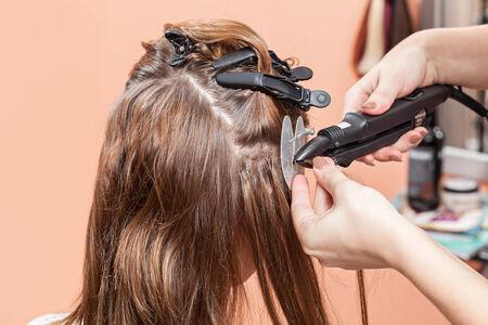 Hair salon, beauty spa  Procedure of hair extensions