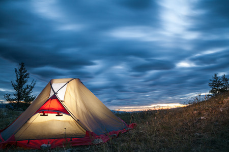 camping tent: Camp before sunrise