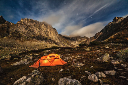 Camping in the mountains. Stars night